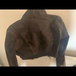 Black cropped jean jacket